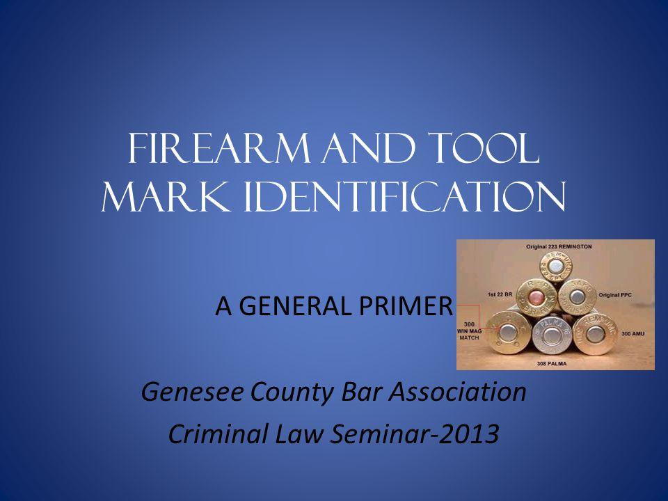 Firearm and Tool mark identification A GENERAL PRIMER Genesee County Bar Association Criminal Law Seminar-2013