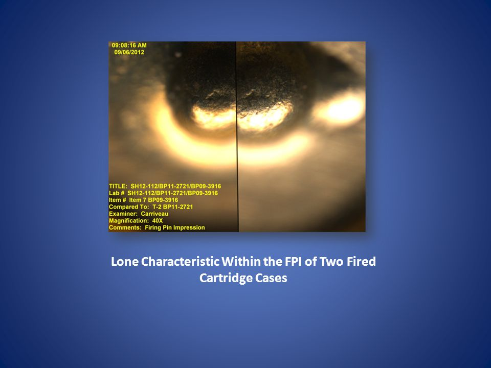 Lone Characteristic Within the FPI of Two Fired Cartridge Cases