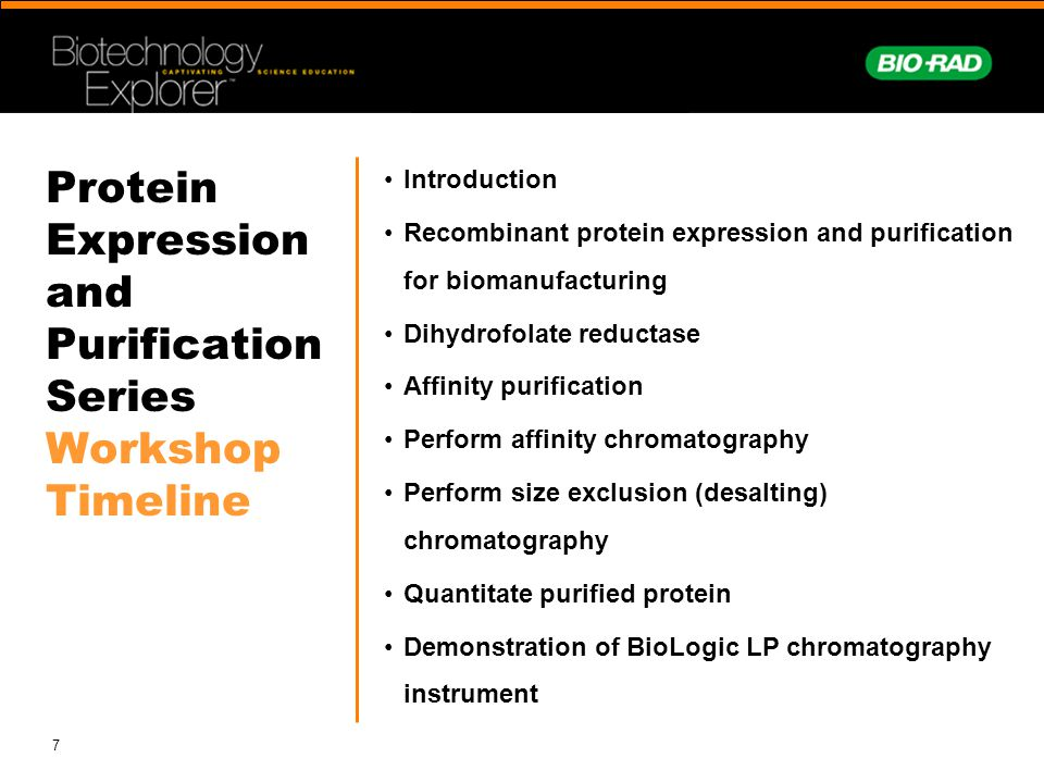 7 Protein Expression and Purification Series Workshop Timeline Introduction Recombinant protein expression and purification for biomanufacturing Dihyd