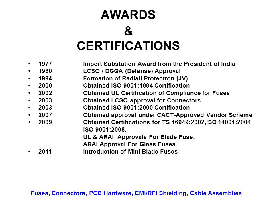 AWARDS & CERTIFICATIONS 1977Import Substution Award from the President of India 1980LCSO / DGQA (Defense) Approval 1994Formation of Radiall Protectron