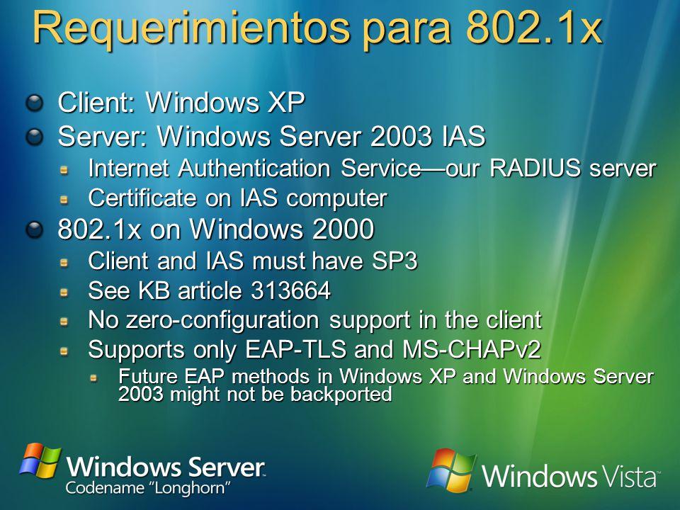 802.1x en 802.11 RADIUS802.11 802.11 Associate EAPOL-Start EAP-Request/Identity EAP-Response/Identity EAP-Request/Identity EAP-Response (credentials) Radius-Access-Request Radius-Access-Challenge Radius-Access-Request Radius-Access-Accept EAPOL-Key (Key) EAP-Success Access Allowed Access Blocked Association Access Point Laptop Computer Wireless Ethernet Radius Server