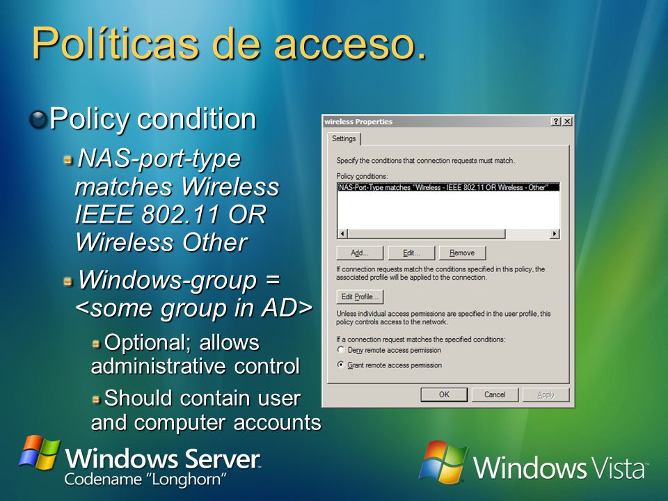 802.1x Setup Configure Windows Server 2003 with IAS 1 1 Join a domain 2 2 Enroll computer certificate 3 3 Register IAS in Active Directory 4 4 Configure RADIUS logging 5 5 Add AP as RADIUS client 6 6 Configure AP for RADIUS and 802.1x 7 7 Create wireless client access policy 8 8 Configure clients Dont forget to import the root certificate Configure clients Dont forget to import the root certificate 9 9