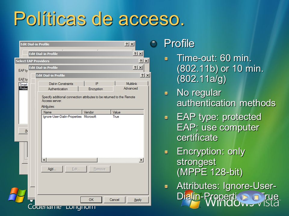 Políticas de acceso. Policy condition NAS-port-type matches Wireless IEEE 802.11 OR Wireless Other Windows-group = Windows-group = Optional; allows ad