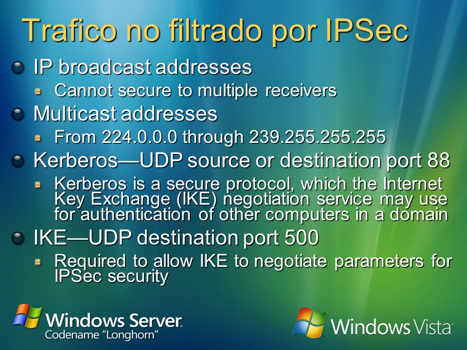 Implementando el filtrado de Paquetes IPSec Filters for allowed and blocked traffic No actual negotiation of IPSec security associations Overlapping filtersmost specific match determines action Does not provide stateful filtering Must set NoDefaultExempt = 1 to be secure From IP To IP Protoco l Src Port Dest Port Action Any My Internet IP AnyN/AN/ABlock Any TCPAny80Permit