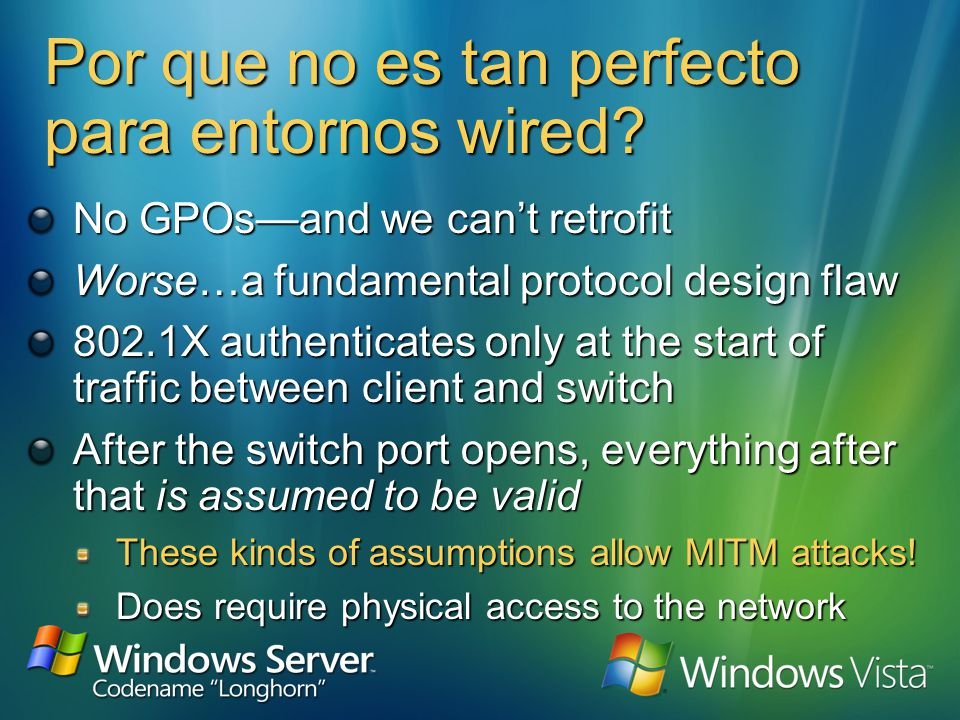 Porque es perfecto en entornos wireless? The supplicant (client) and authentication server (RADIUS) generate session keys Keys are never sent over the