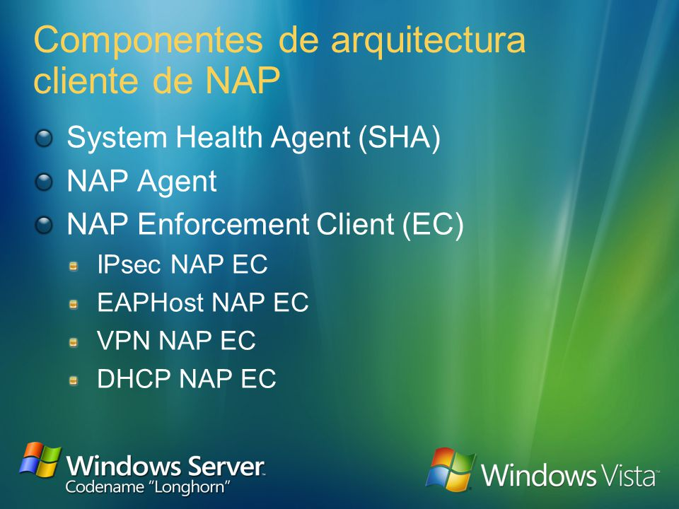 NAP client NPS System health requirement queries VPN server Protected Extensible Authentication Protocol (PEAP) messages over the Point-to-Point Protocol (PPP) IEEE 802.1X devices PEAP messages over EAP over LAN (EAPOL) Policy server Interacción de los componentes de NAP (2) RADIUS messages