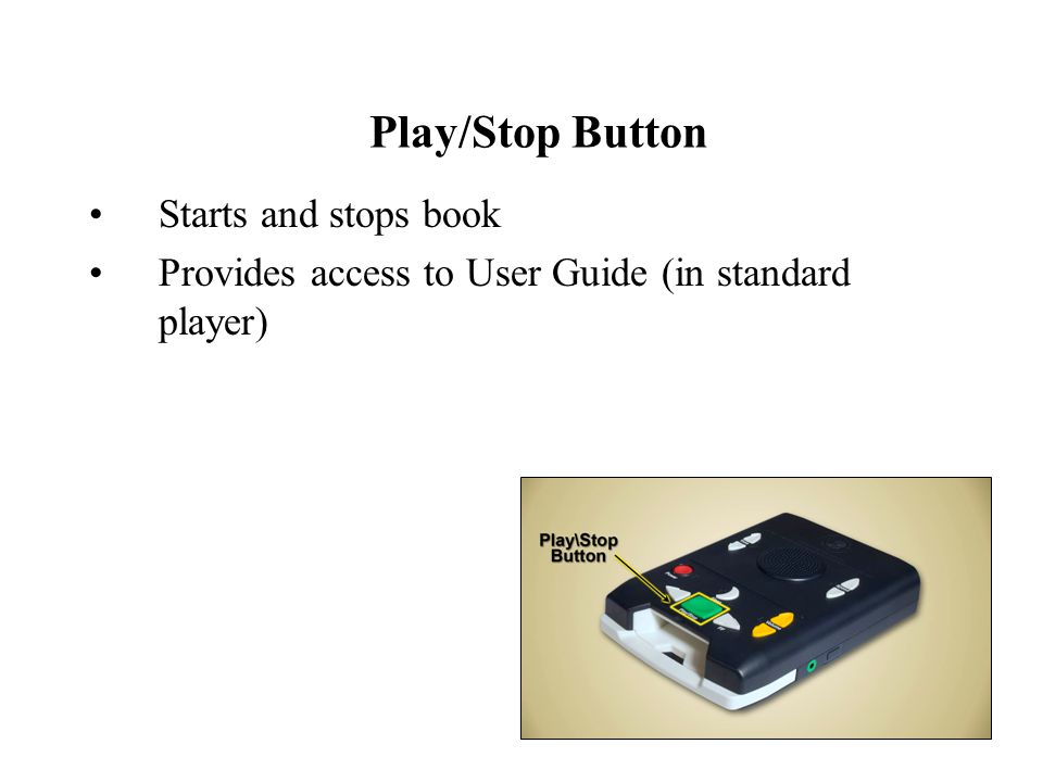 Play/Stop Button Starts and stops book Provides access to User Guide (in standard player)