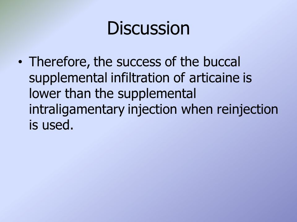 Discussion Therefore, the success of the buccal supplemental infiltration of articaine is lower than the supplemental intraligamentary injection when