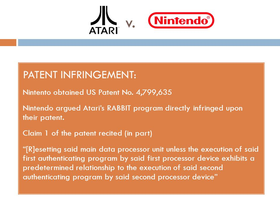 v. PATENT INFRINGEMENT: Nintento obtained US Patent No.