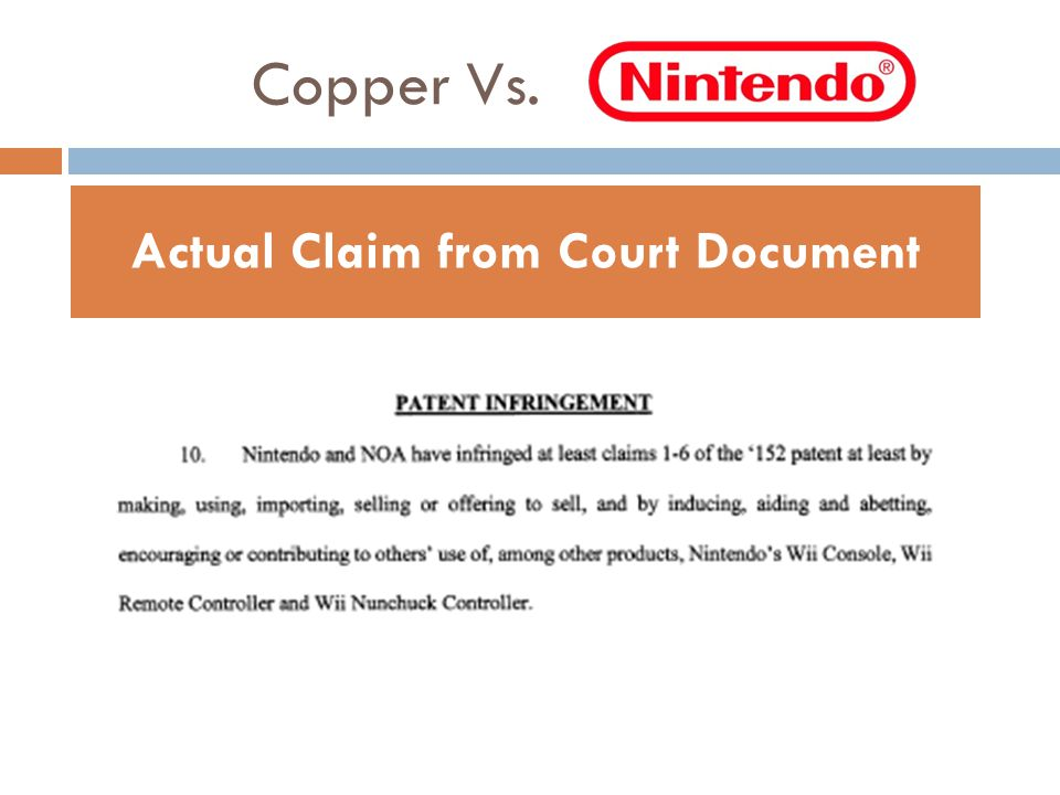 Copper Vs. Actual Claim from Court Document