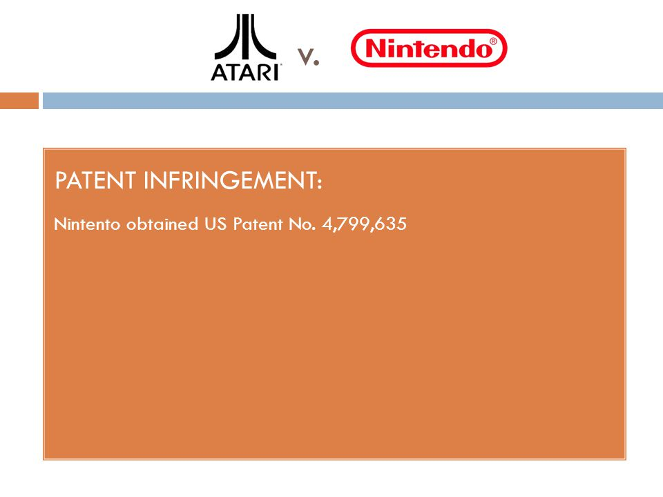 v. PATENT INFRINGEMENT: Nintento obtained US Patent No. 4,799,635
