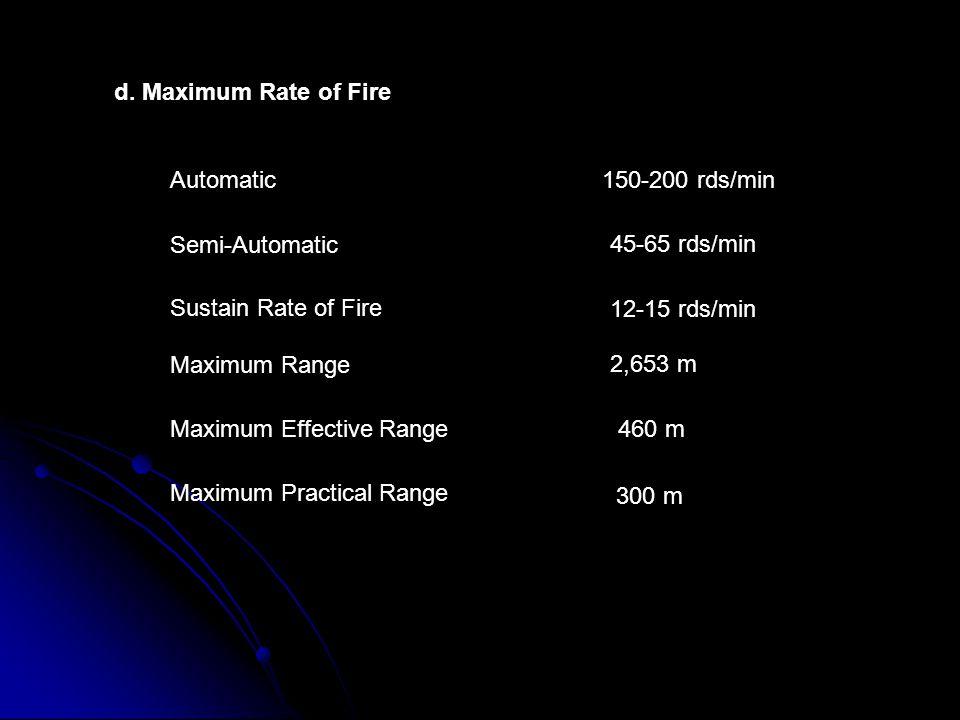 d. Maximum Rate of Fire Automatic Semi-Automatic Sustain Rate of Fire Maximum Range Maximum Effective Range Maximum Practical Range 150-200 rds/min 45