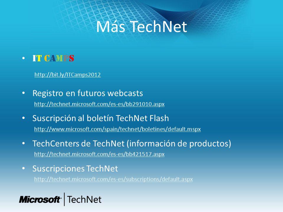 Más TechNet IT CAMPS http://bit.ly/ITCamps2012 Registro en futuros webcasts http://technet.microsoft.com/es-es/bb291010.aspx Suscripción al boletín TechNet Flash http://www.microsoft.com/spain/technet/boletines/default.mspx TechCenters de TechNet (información de productos) http://technet.microsoft.com/es-es/bb421517.aspx Suscripciones TechNet http://technet.microsoft.com/es-es/subscriptions/default.aspx