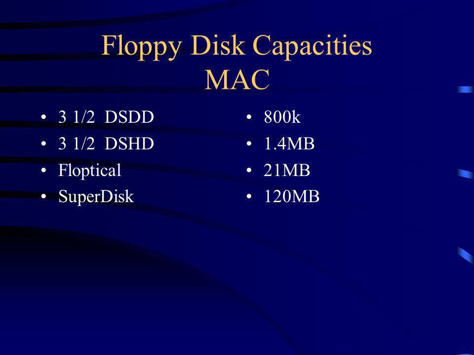 Floppy Disk Capacities MAC 3 1/2 DSDD 3 1/2 DSHD Floptical SuperDisk 800k 1.4MB 21MB 120MB