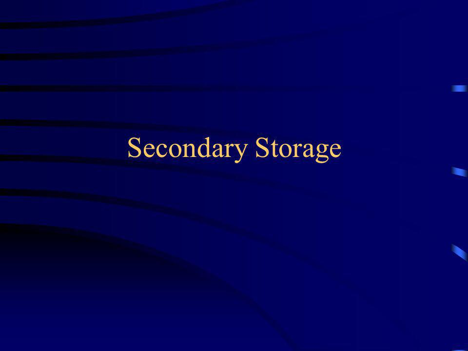 Nonvolatile storage that is external to the main memory Used for: –Storage of large amounts of data –Permanent or long-term storage –Backups Hardware is input/output (I/O) device
