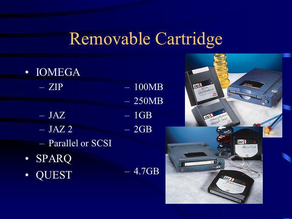 Removable Cartridge IOMEGA –ZIP –JAZ –JAZ 2 –Parallel or SCSI SPARQ QUEST –100MB –250MB –1GB –2GB –4.7GB