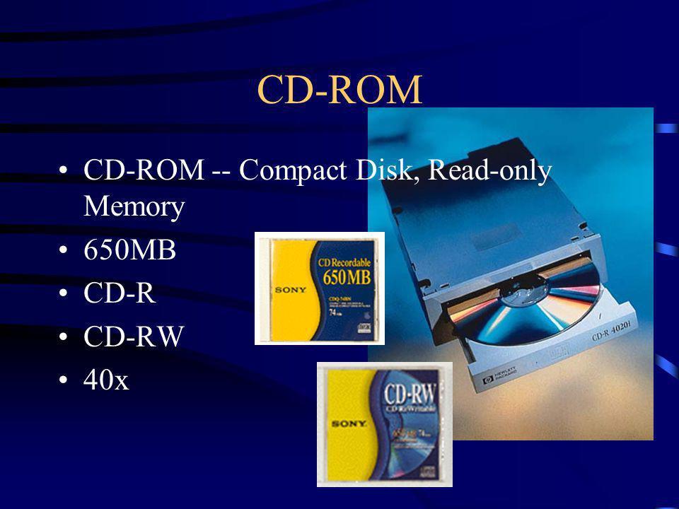 CD-ROM CD-ROM -- Compact Disk, Read-only Memory 650MB CD-R CD-RW 40x