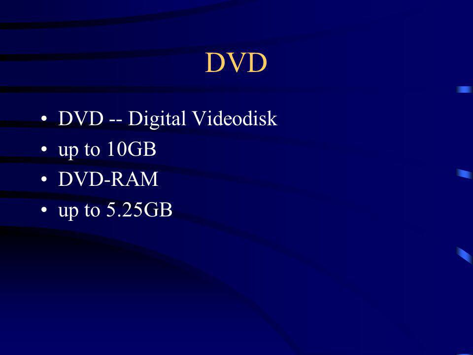 DVD DVD -- Digital Videodisk up to 10GB DVD-RAM up to 5.25GB