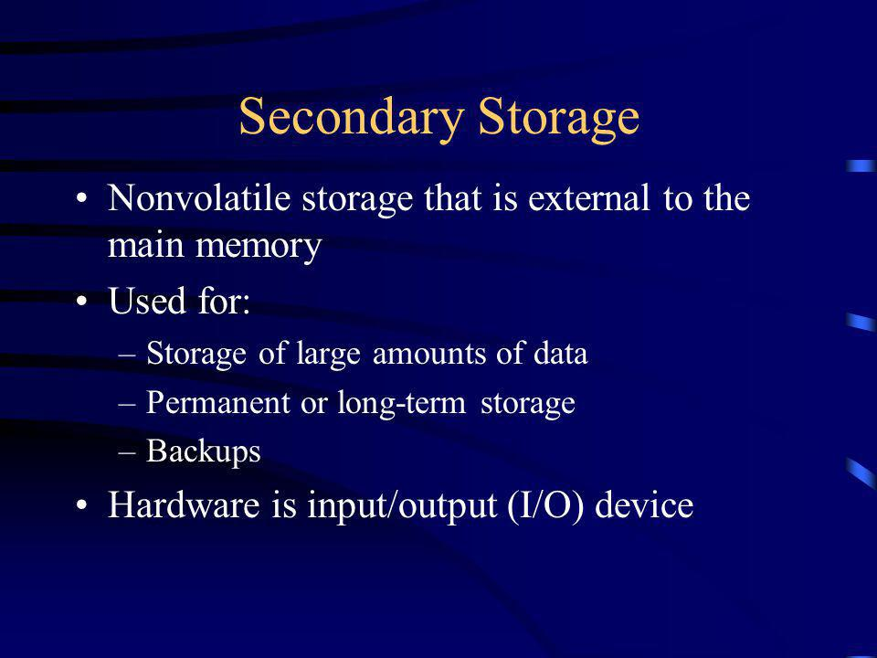 Nonvolatile storage that is external to the main memory Used for: –Storage of large amounts of data –Permanent or long-term storage –Backups Hardware