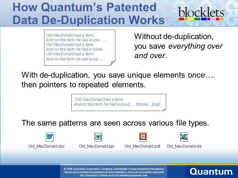 © 2006 Quantum Corporation. Company Confidential. Forward-looking information is based upon multiple assumptions and uncertainties, does not necessari