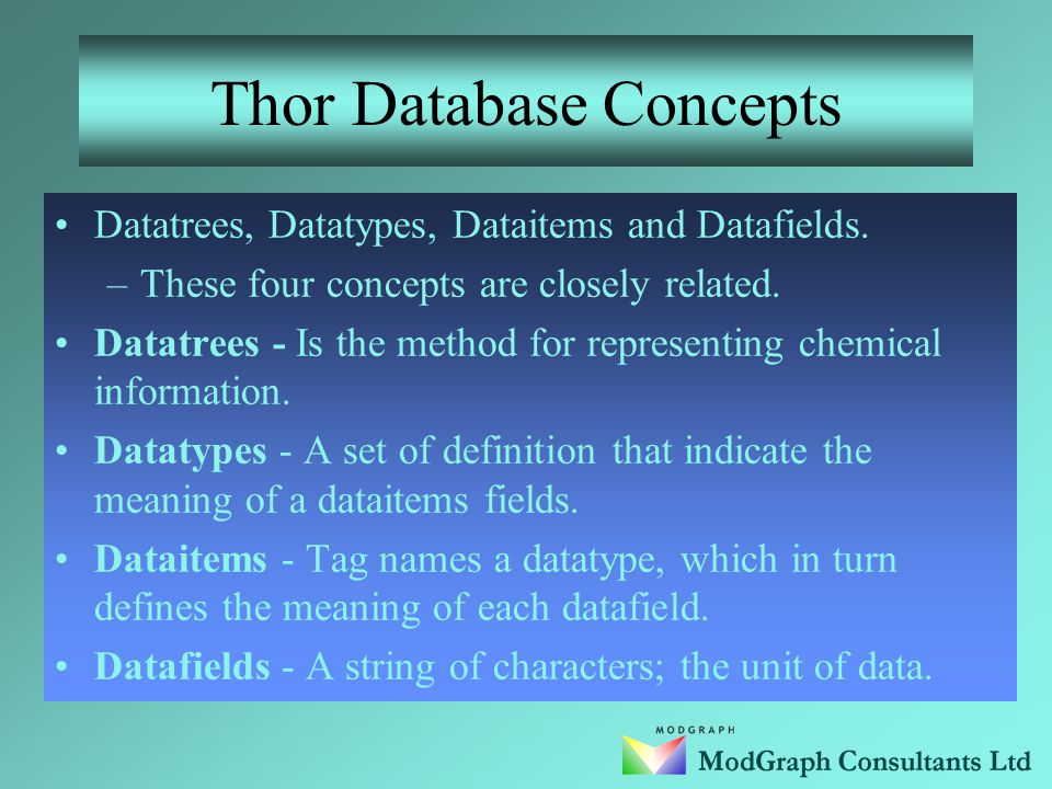 Introduction Thor database concepts. Data (Chemical Structure) hierarchy.