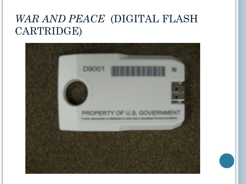 WAR AND PEACE (DIGITAL FLASH CARTRIDGE)