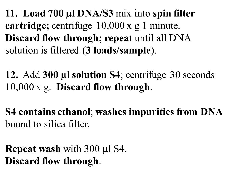 11. Load 700 l DNA/S3 mix into spin filter cartridge; centrifuge 10,000 x g 1 minute.
