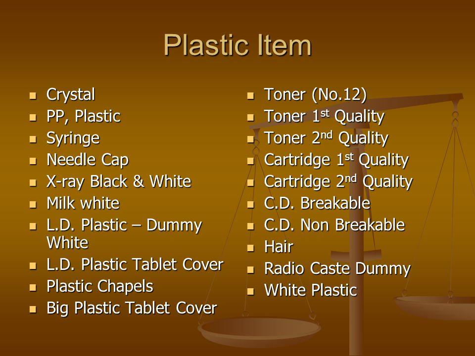 Plastic Item Crystal Crystal PP, Plastic PP, Plastic Syringe Syringe Needle Cap Needle Cap X-ray Black & White X-ray Black & White Milk white Milk white L.D.