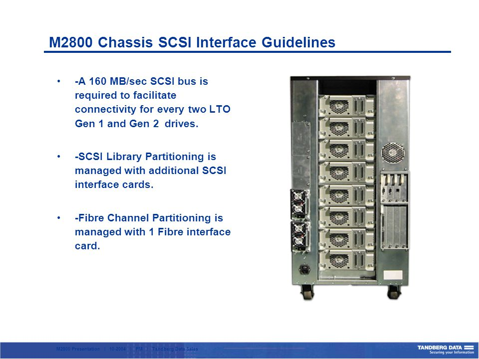 M2800 Presentation | 10-2004 | PM | Tandberg Data Sales M2800 Chassis SCSI Interface Guidelines -A 160 MB/sec SCSI bus is required to facilitate connectivity for every two LTO Gen 1 and Gen 2 drives.