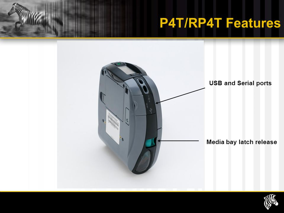 P4T/RP4T Features Media bay latch release USB and Serial ports