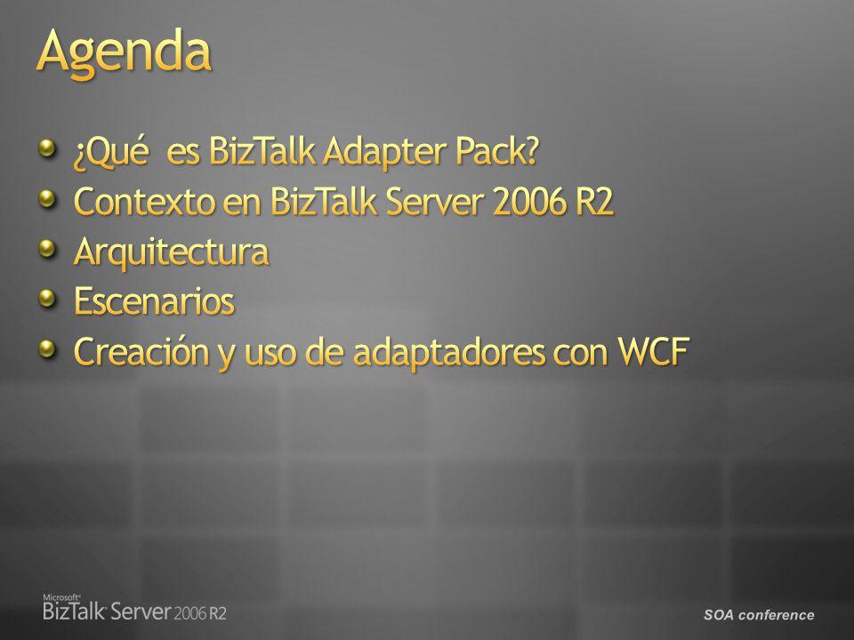 Una colección de adaptadores basados en Windows Communication Foundation (WCF) que proporciona acceso programático orientado a servicios a sistemas de línea de negocio (LOB) Uniformidad- WCF como base para construir adaptadores LOB Programabilidad – WCF Channel & Service Models, ADO.NET Reusabilidad- Adaptadores son componentes integrables e independientes del host Mejoras- Dirigido a problemas de clientes de BizTalk Server 2006 adapters Construido sobre WCF LOB Adapter SDK Permite buscar metadatos en sistemas LOB La version 1.0 incluye adaptadores para SAP, Siebel y bases de datos de Oracle