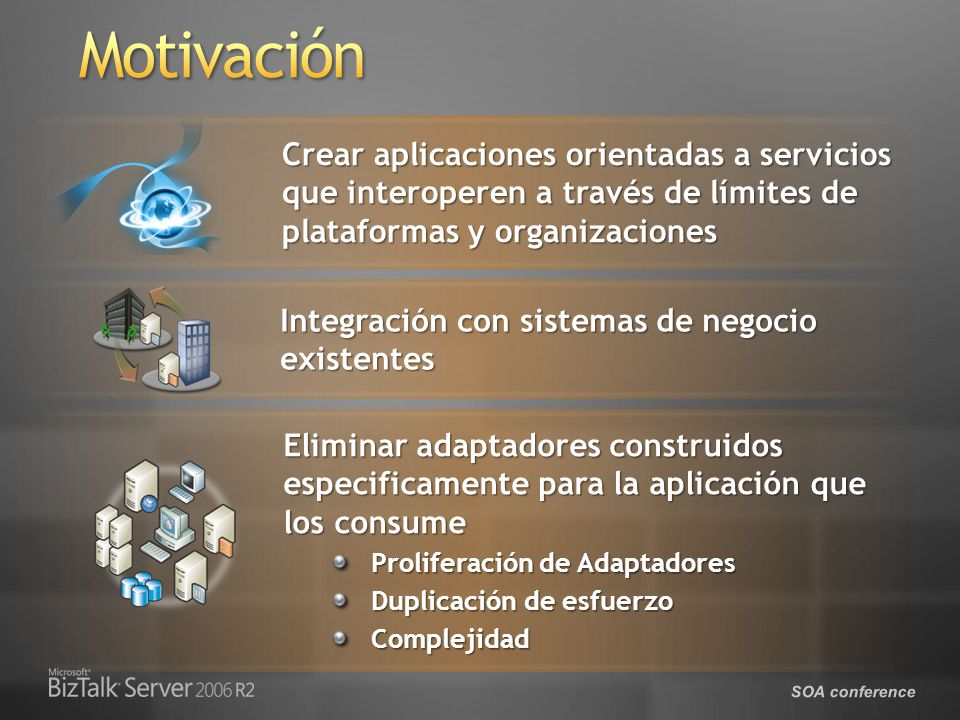 SOA conference Integración con sistemas de negocio existentes Crear aplicaciones orientadas a servicios que interoperen a través de límites de plataformas y organizaciones Eliminar adaptadores construidos especificamente para la aplicación que los consume Proliferación de Adaptadores Duplicación de esfuerzo Complejidad
