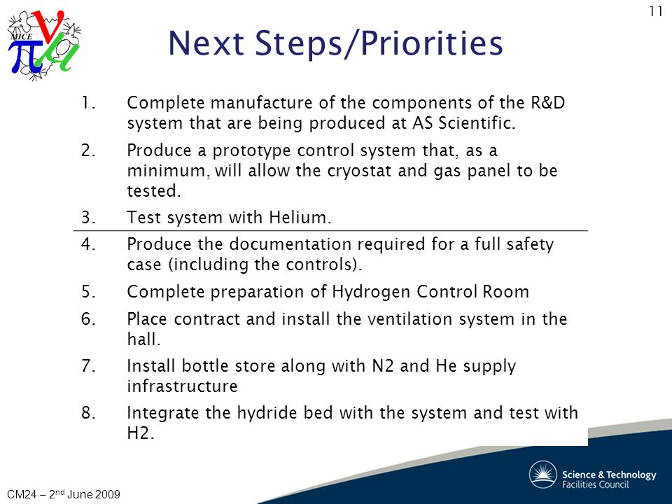11 CM24 – 2 nd June 2009 Next Steps/Priorities 1.Complete manufacture of the components of the R&D system that are being produced at AS Scientific.