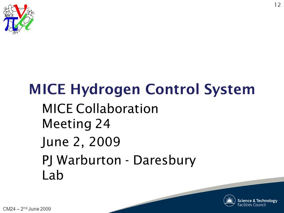12 CM24 – 2 nd June 2009 MICE Hydrogen Control System MICE Collaboration Meeting 24 June 2, 2009 PJ Warburton - Daresbury Lab