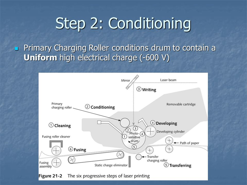Step 2: Conditioning Primary Charging Roller conditions drum to contain a Uniform high electrical charge (-600 V) Primary Charging Roller conditions drum to contain a Uniform high electrical charge (-600 V)