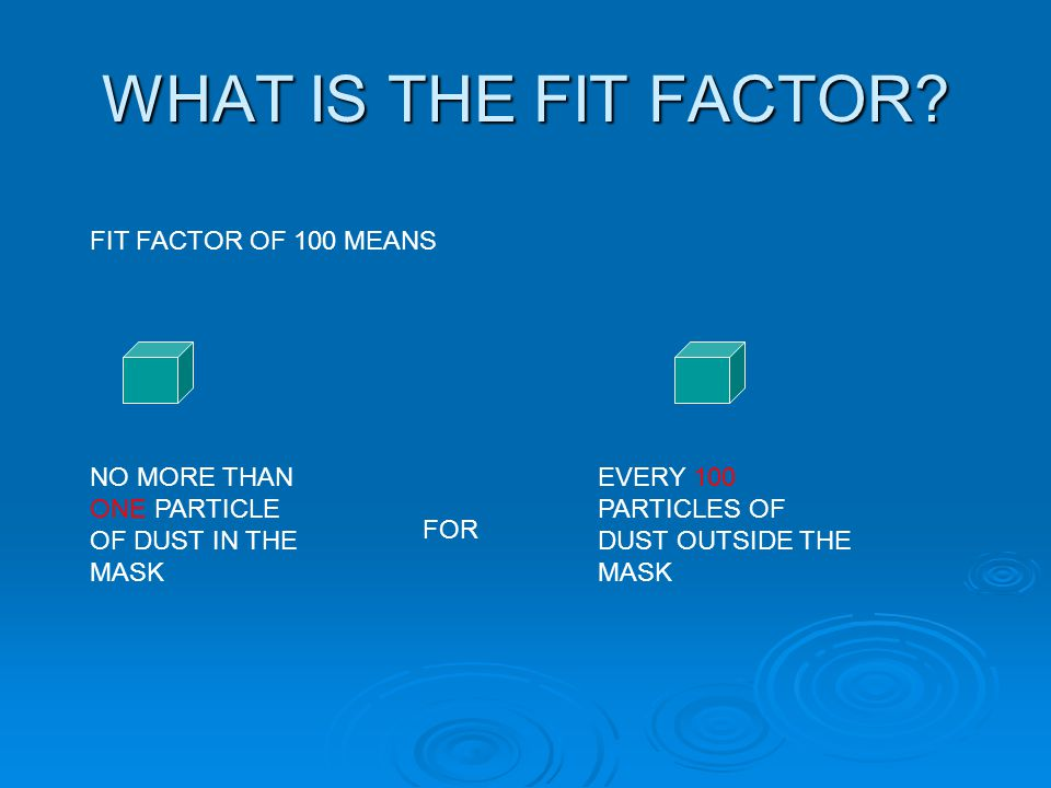 WHAT IS THE FIT FACTOR? FIT FACTOR OF 100 MEANS NO MORE THAN ONE PARTICLE OF DUST IN THE MASK EVERY 100 PARTICLES OF DUST OUTSIDE THE MASK FOR