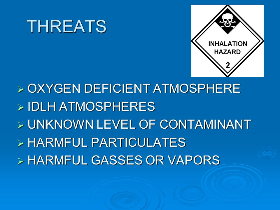 THREATS OXYGEN DEFICIENT ATMOSPHERE OXYGEN DEFICIENT ATMOSPHERE IDLH ATMOSPHERES IDLH ATMOSPHERES UNKNOWN LEVEL OF CONTAMINANT UNKNOWN LEVEL OF CONTAM