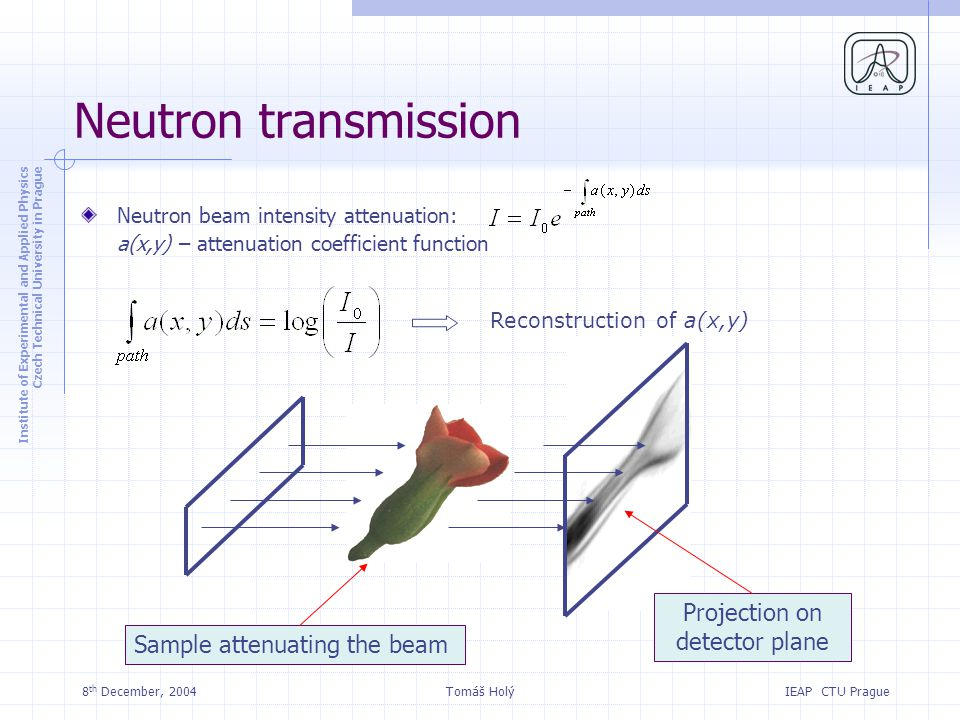 Institute of Experimental and Applied Physics Czech Technical University in Prague IEAP CTU Prague 8 th December, 2004Tomáš Holý Neutron transmission Neutron beam intensity attenuation: a(x,y) – attenuation coefficient function Sample attenuating the beam Projection on detector plane Reconstruction of a(x,y)