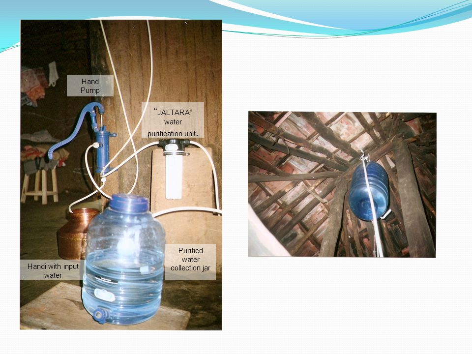 JALTARA water purification unit. Hand Pump Handi with input water Purified water collection jar