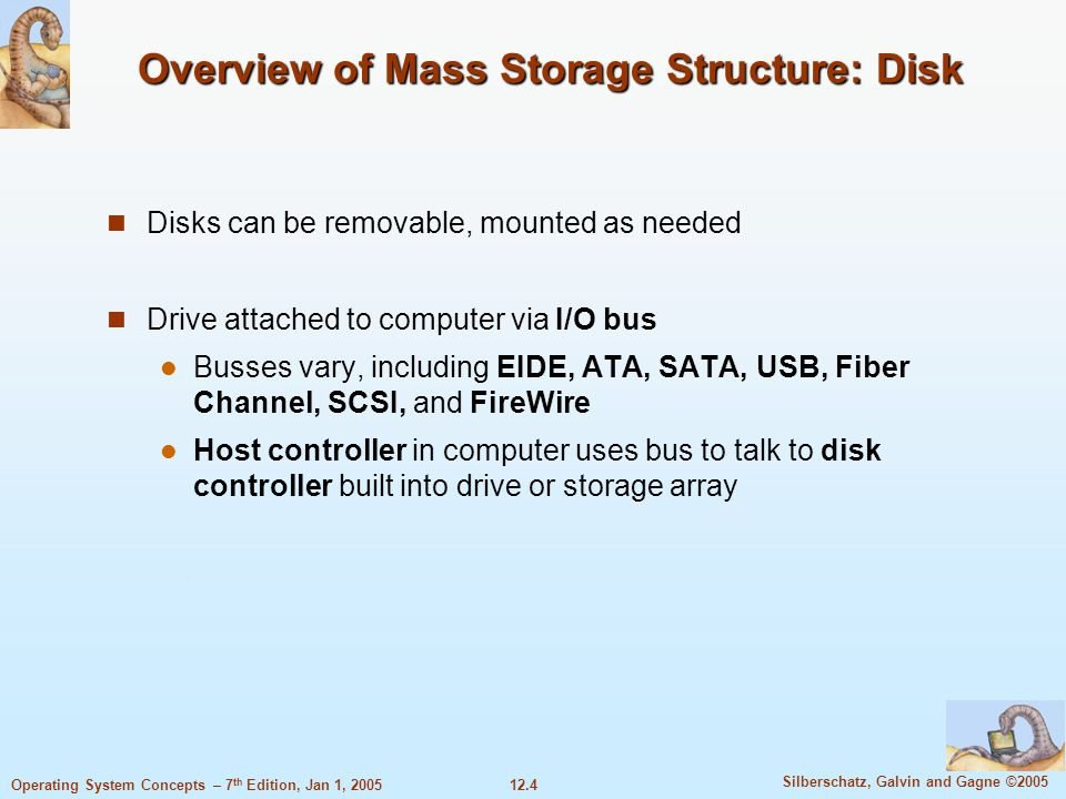 12.4 Silberschatz, Galvin and Gagne ©2005 Operating System Concepts – 7 th Edition, Jan 1, 2005 Overview of Mass Storage Structure: Disk Disks can be