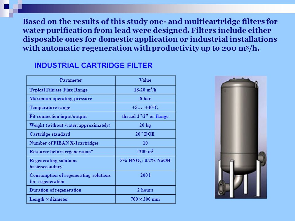 Based on the results of this study one- and multicartridge filters for water purification from lead were designed.
