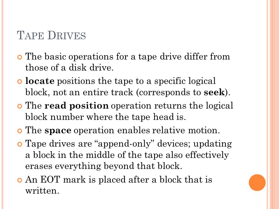 T APE D RIVES The basic operations for a tape drive differ from those of a disk drive.