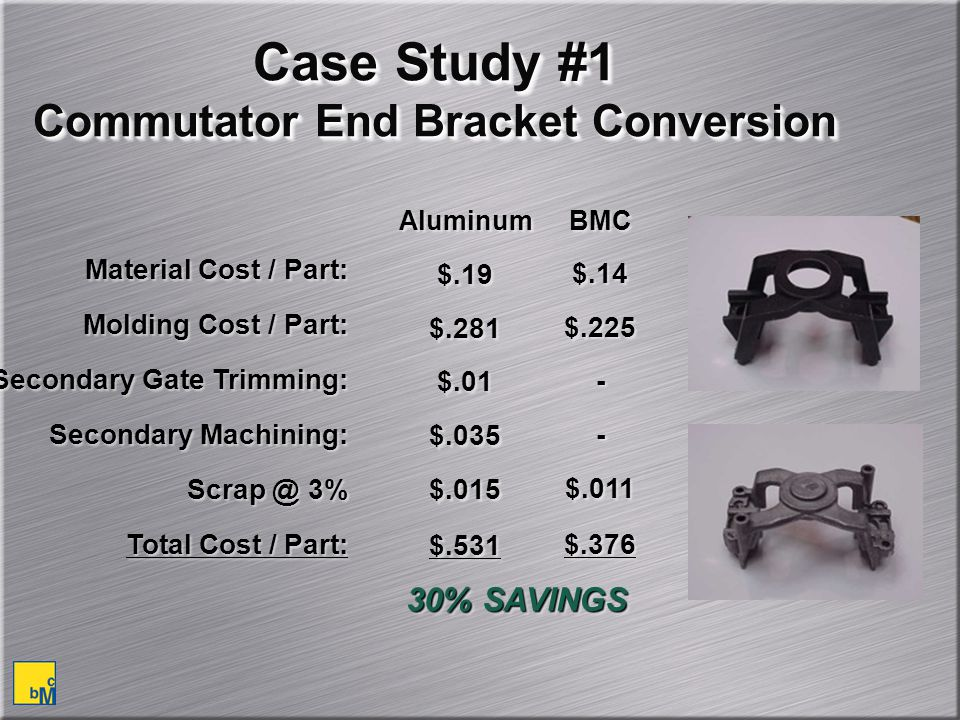 Case Study #1 Commutator End Bracket Conversion Material Cost / Part: Molding Cost / Part: Secondary Gate Trimming: Secondary Machining: Scrap @ 3% Total Cost / Part: Material Cost / Part: Molding Cost / Part: Secondary Gate Trimming: Secondary Machining: Scrap @ 3% Total Cost / Part: $.19 $.281 $.01 $.035 $.015 $.531 $.19 $.281 $.01 $.035 $.015 $.531 $.14 $.225 - $.011 $.376 $.14 $.225 - $.011 $.376 Aluminum BMC 30% SAVINGS