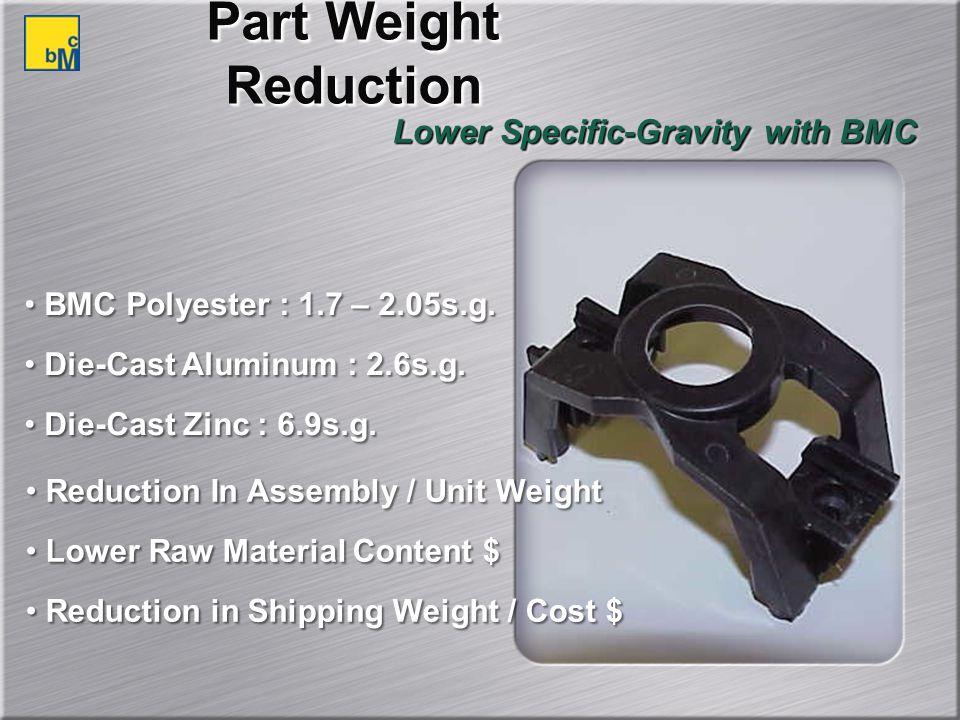 BMC Polyester : 1.7 – 2.05s.g.Die-Cast Aluminum : 2.6s.g.
