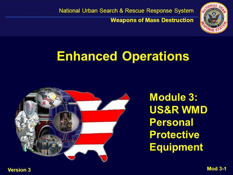 Version 3 National Urban Search & Rescue Response System National Urban Search & Rescue Response System Weapons of Mass Destruction Mod 3-12 PAPR Two - MPC Plus canisters Two - MPC Plus canisters Slight positive pressure Slight positive pressure 10 hour battery life 10 hour battery life Batteries in cache are for deployment Batteries in cache are for deployment Can be used off shelf without charging Can be used off shelf without charging