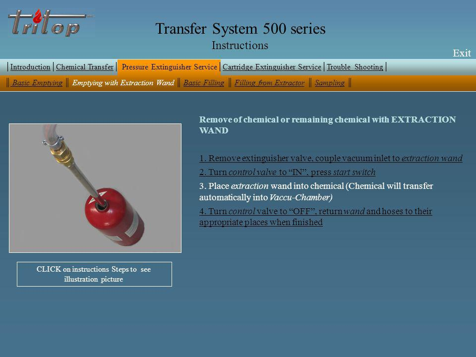 Exit Transfer System 500 series Instructions Exit Remove of chemical or remaining chemical with EXTRACTION WAND 1.