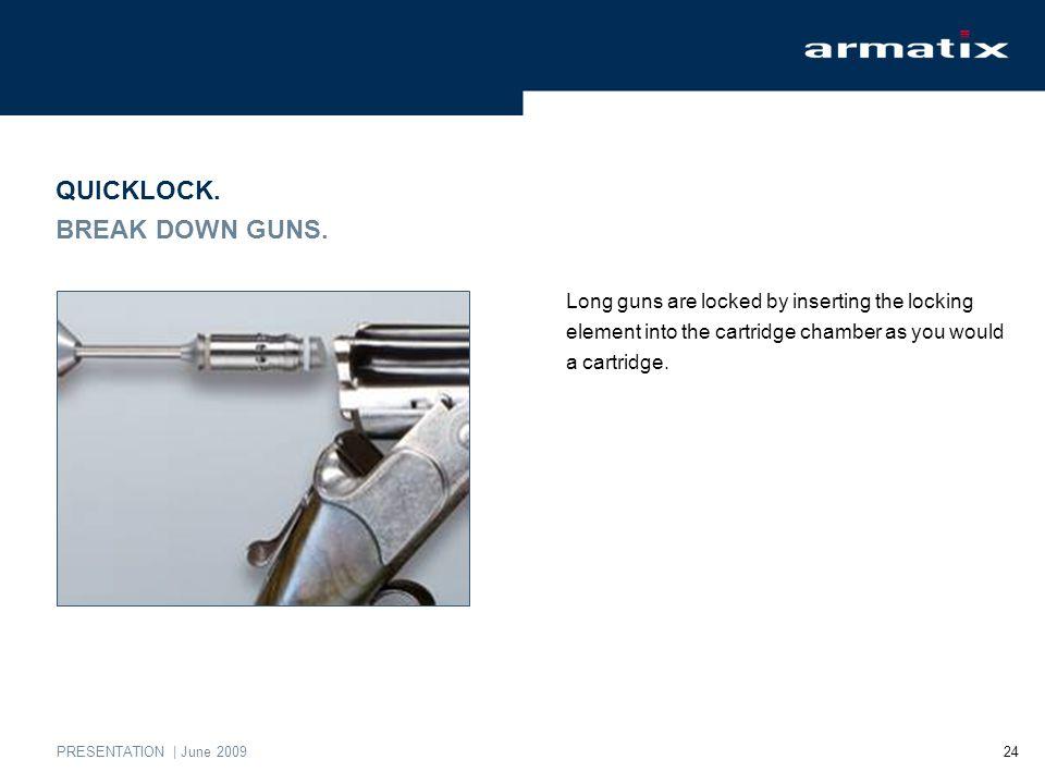 PRESENTATION | June 2009 24 QUICKLOCK. BREAK DOWN GUNS.