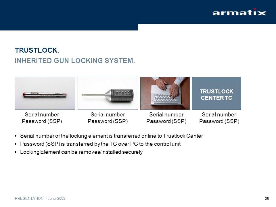 PRESENTATION | June 2009 28 TRUSTLOCK. INHERITED GUN LOCKING SYSTEM.