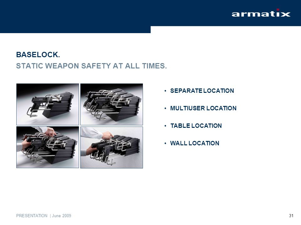 PRESENTATION | June 2009 31 BASELOCK. STATIC WEAPON SAFETY AT ALL TIMES.