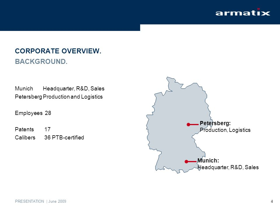 PRESENTATION | June 2009 4 CORPORATE OVERVIEW. BACKGROUND. MunichHeadquarter, R&D, Sales PetersbergProduction and Logistics Employees 28 Patents 17 Ca